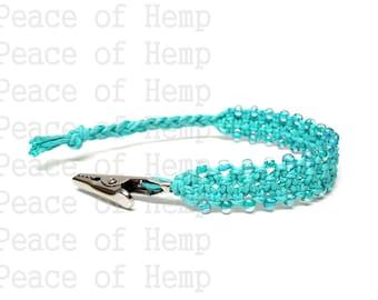 Teal Hemp Hippie Clip Bracelet