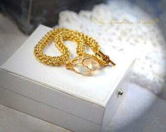 Citrine Bracelet,  Gemstone Chainmaille Bracelet, Gold and Citrine Bracelet, Gold and Gemstone weave, Solar Plexus Bracelet