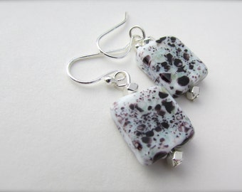 Polka Dot Earrings lampwork glass dangle earrings black and white