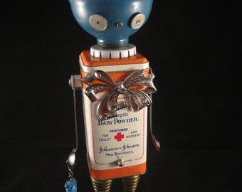 Baby Blue Bot - found object robot sculpture assemblage by Cheri Kudja with Bitti Bots