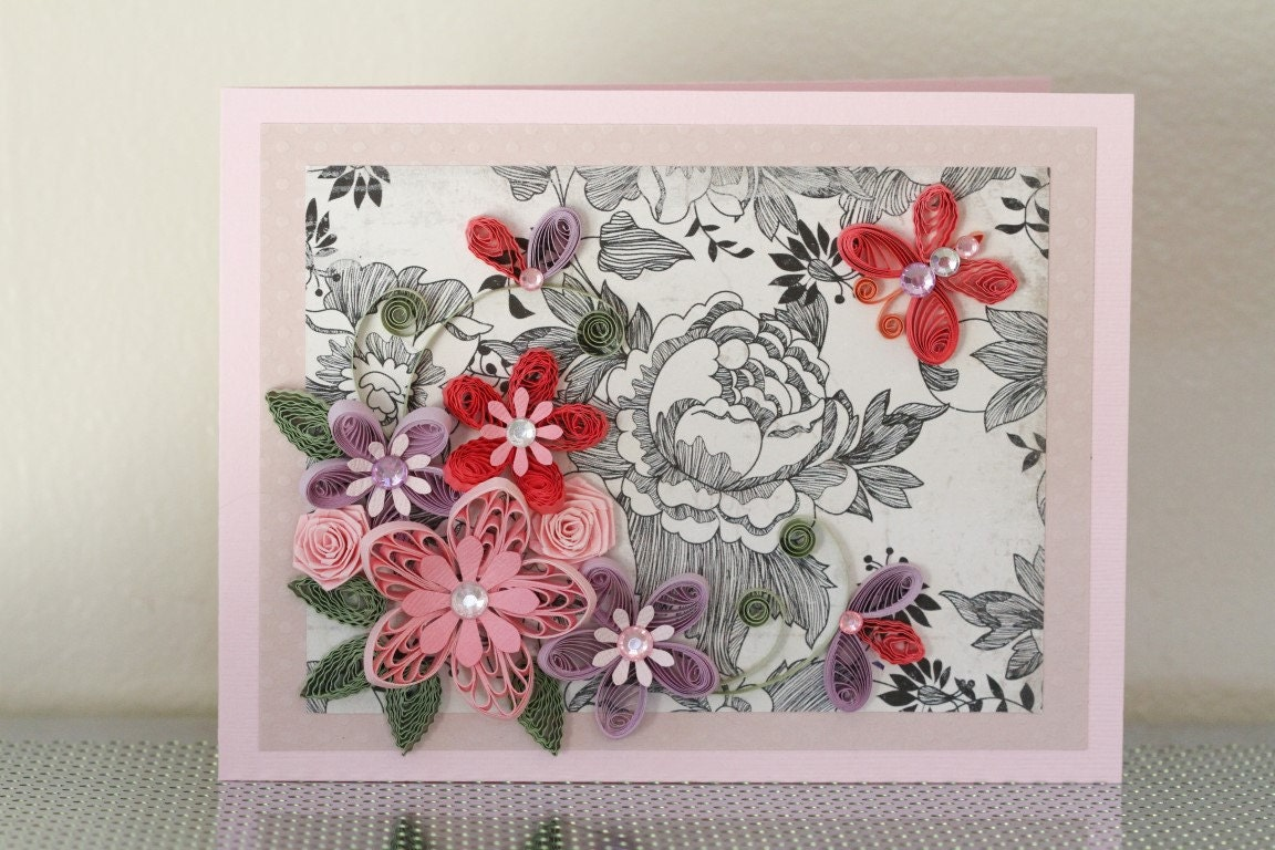 Handmade Paper Quilling Pink Card with Quilled Flowers