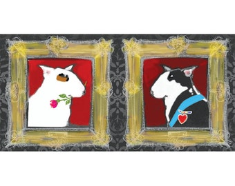Aristocratic English Bull Terriers in Love  Valentine Card