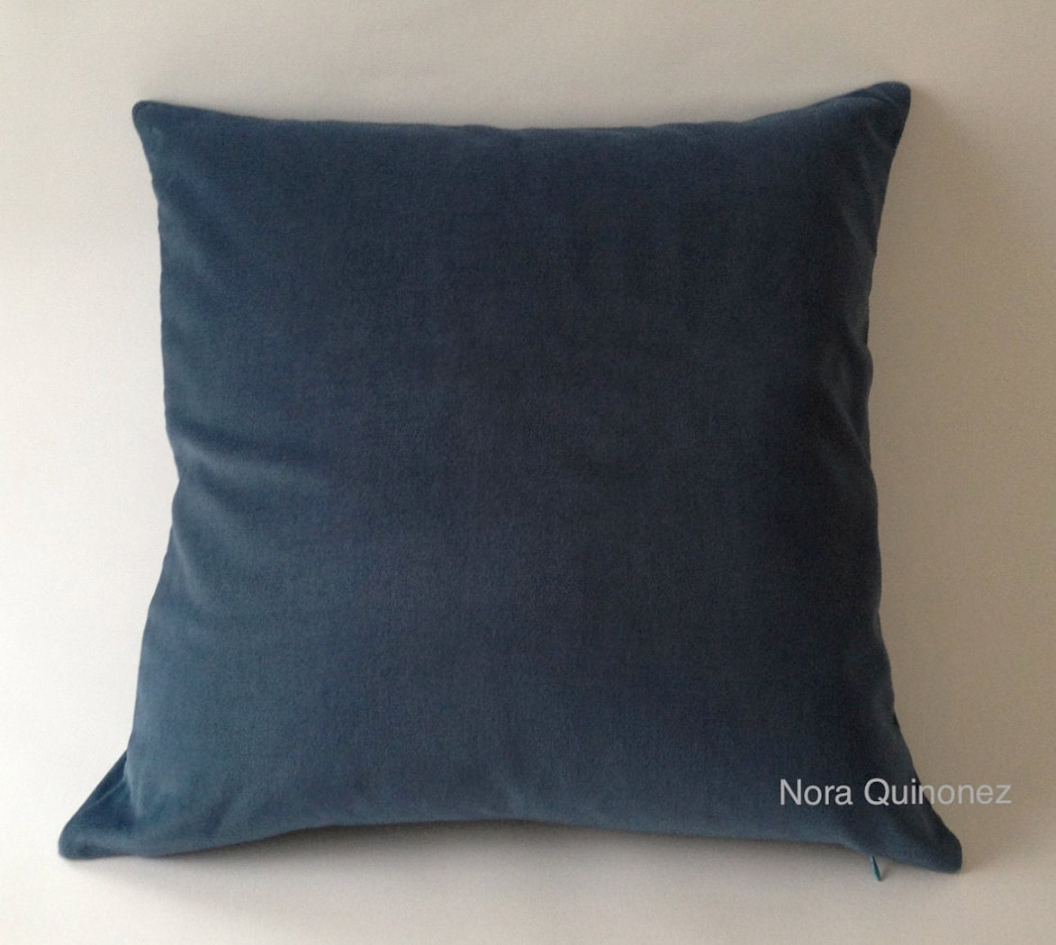 Teal Blue Cotton Velvet Pillow Cover Decorative Accent Throw