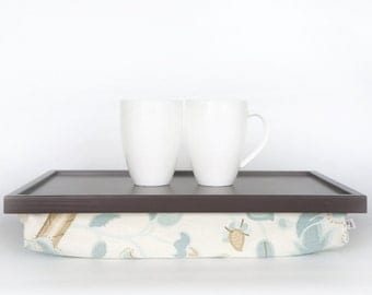 Breakfast serving or Laptop Lap Desk- greyish brown with  thick floral pillow