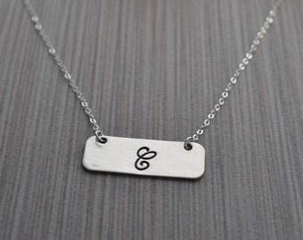 Personalized .925 sterling silver bar necklace