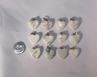 White Howlite Pendant Hearts or Valentines