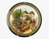 Antique Framed English Thatched Roof Tudor Cottage Garden Scene Embellished with Dried Flowers under Convex Bubble Glass