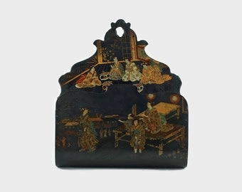 Antique Japanese Gilded Hand Painted Black Lacquer Paper Mache Hanging Letter Holder