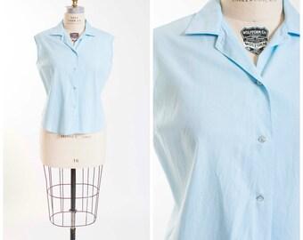 Vintage 1950s Shirt Pastel Blue Cotton Sleeveless 50s Vintage Blouse Shirt Size Large