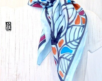 Silk Scarf Square, Hand painted Silk Scarf Blue, ETSY, Blue Japanese Hana Vines Scarf, Gift for her, Silk Scarves Takuyo, 22x22 inches.