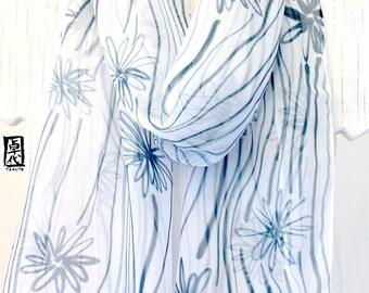 Handpainted Silk Scarf, Gift under 50, White Scarf, Chiffon Scarf, Gray Blue Wildflowers Scarf, Silk Scarves Takuyo, 11x60 inches.