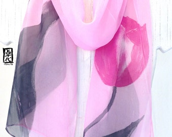 Silk Scarf Handpainted, Pink Silk Scarf, Floral Silk Scarf, Pastel Pink Tulips Scarf, Silk Scarves Takuyo.  Approx 10x59 inches.