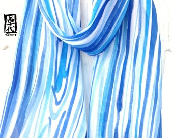 Hand Painted Silk Scarf Blue, Japanese Zen Blue Water Tranquility Scarf, Cyan Blue and Ultramarine Blue Silk Scarf, 11x60 inches.