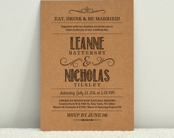 Hand Lettered Rustic Love / DIY Kraft Paper Wedding Invitation / Printable PDF Template
