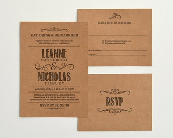 Hand Lettered Rustic Love / Kraft Paper Wedding Invitation & Reply Templates / Instant Download