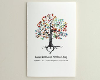 The Bohemian Tree - Wedding Ceremony Program / Order of Service - DIY Printable PDF Template - folded card - Red