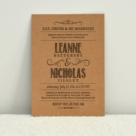 Hand Lettered Rustic Love DIY Kraft Paper Wedding Invitation