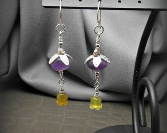 Long Dangle Sterling Silver Earrings with Purple Amethyst and Carved Yellow Chalcedony Beads