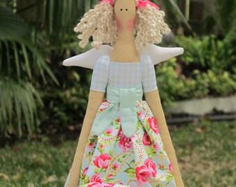 Tilda doll angel cloth doll light blue paisley rose stuffed doll rag doll blonde Guardian angel birthday gift, baby shower, nursery decor
