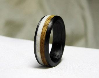 Whiskey Barrel Oak and Antler Ring - Carbon Fiber Band