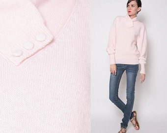 Vintage NOS 80s Crossover Collar Light Pink Sweater