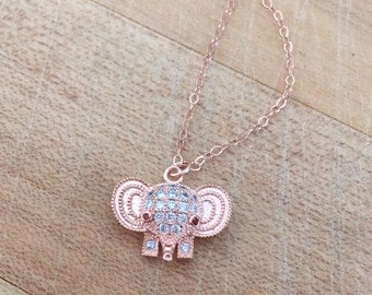 Elephant Necklace - Rose Gold Jewelry - Everyday Jewellery - Pendant - Chain
