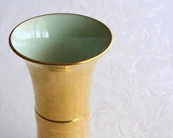 """Gold porcelain vase, Pickard gold encrusted vase 7"""" AOG all over gold"""