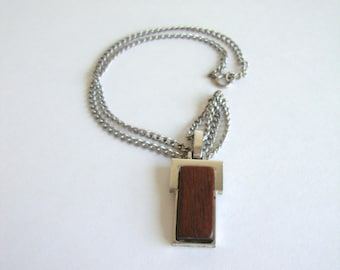 Rectangle Necklace: Coffee Table vintage modern wood and silver avon necklace