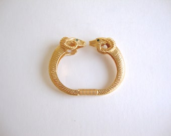 KJL Ram Bracelet: Double Ram vintage Kenneth Lane gold tone double ram head clamper bracelet