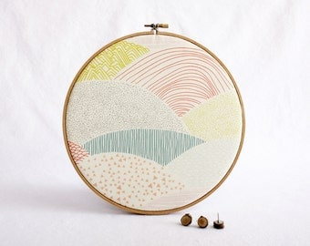 Modern Landscape Cork Memo Board, Embroidery Hoop, Real Wood SliceTacks, Organize, Wall Decor, Home Office