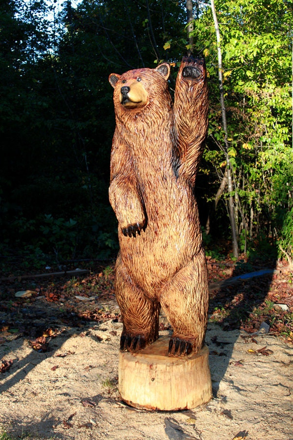 Foot brown bear chainsaw wood sculpture waving