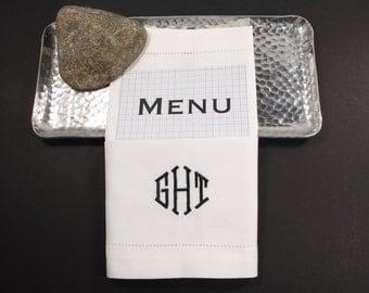Wedding Menu Monogrammed Napkins /Set of 4/ Modern, Embroidered Cloth Napkins, wedding linens, menu folded, wedding napkins, menu napkins