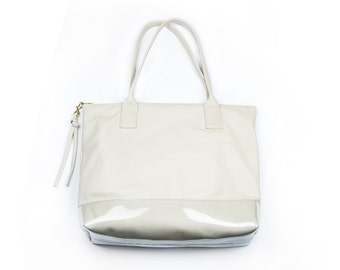 CAROLINA Off White Leather Tote. Beige Leather Tote Bag. Zippered Leather Tote Bag. Ivory Womens Purse