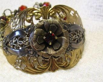 Art Nouveau Vintage Style Aged Brass Cuff Bracelet Ruby Red Rhinestone Renaissance  Bracelet, Victorian