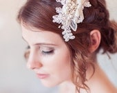 Ivory Lace Wedding Headpiece, Lace Bridal Hair Comb, Ivory Lace Bridal Hair Accessory, Lace Bridal Comb, Wedding Hair Comb - READY TO SHIP