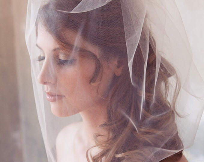 "Tulle Veil, Bridal Illusion, Birdcage Veil, Blusher Veil, Bird Cage Wedding Veil, White, Ivory Tulle Bird Cage Veil, 18"" or 14"" long veil"