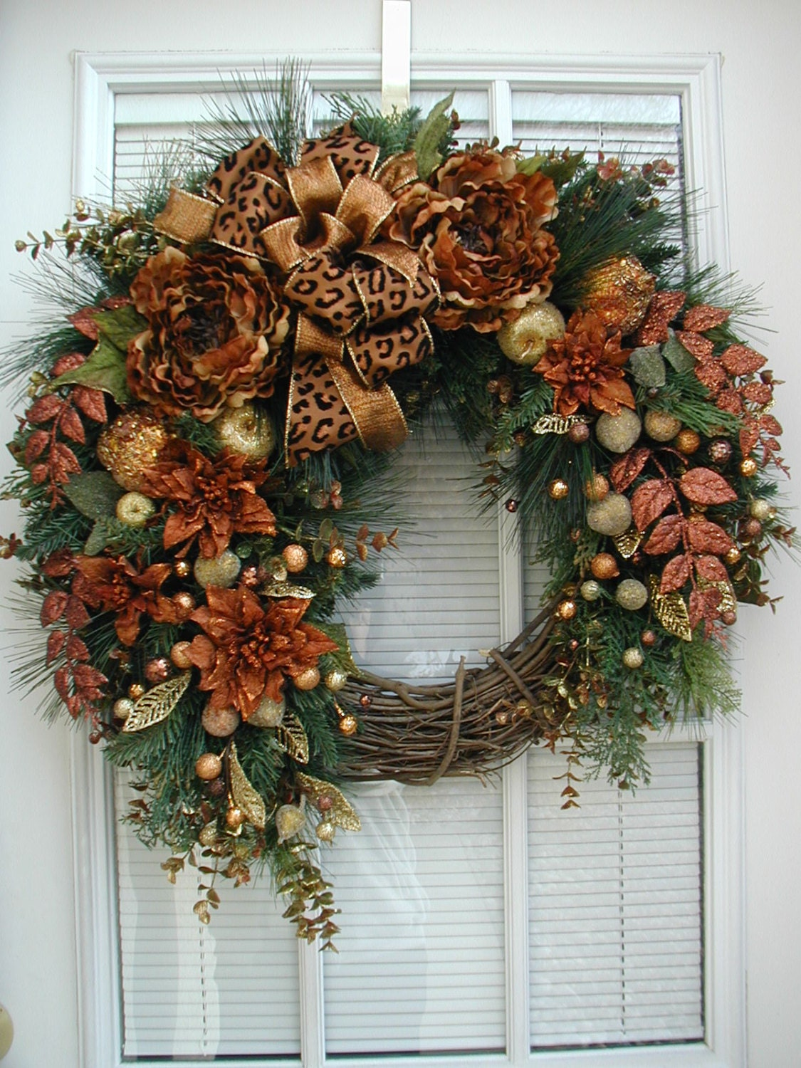 Winter wreath after christmas wreath large spray brown copper for Front door xmas wreaths
