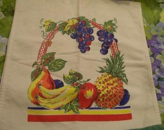 Vintage Fruits Towel Decorative Kitchen 1950s