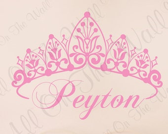 Baby Girl Crown Wall Decal Princess Name Nursery Vinyl Lettering Wall Sticker Children Kids Personalized Decor