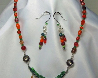 Bright Fall Colors Glass Necklace Bracelet Earrings Ring Handmade Beaded NEW Pretty Unique