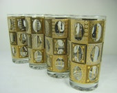 Vintage GOLD BLOCK TUMBLERS Set/4 Glasses Retro Barware Cocktails