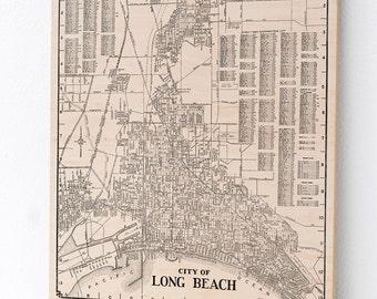 Long Beach, California Wood Print Map, Home Decor, Map Art