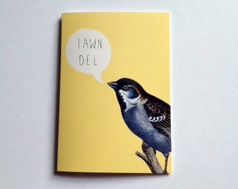 Iawn Del! Welsh Hello Yellow Bird Eco Friendly Art Greeting Card
