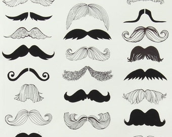 140101159 - Nicole's Prints - Where's My Stache? Mustache Black and White Quilting Cotton Fabric - Sold by the yard