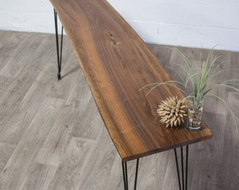 Black Walnut Live Edge CONSOLE Table - Natural - Rustic - Modern