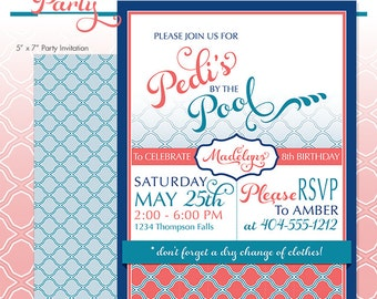 Spa Party Invitation - Pool Birthday Party - DIY Print - Pedis by the Pool - Made to Order - Printed Invitations - Summer Pool Party