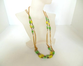 "Vintage Glass Necklace Beaded Yellow Green Gold Chain 60's 52"" (item 178)"