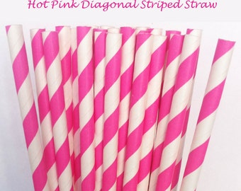 Hot Pink Striped Paper Straws (S02) with free printable DIY Toppers - Pack of 25 or 50 Straws