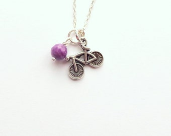 Tiny Bicycle Necklace.  Little Silver Bike.  Charm Necklace.  Cyclist.