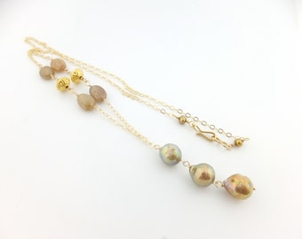 Kasumi pearl necklace, ripple pearls, golden green, sapphire, freshwater, gold: Simply Adorned